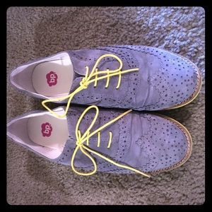 Grey and yellow lace up flats